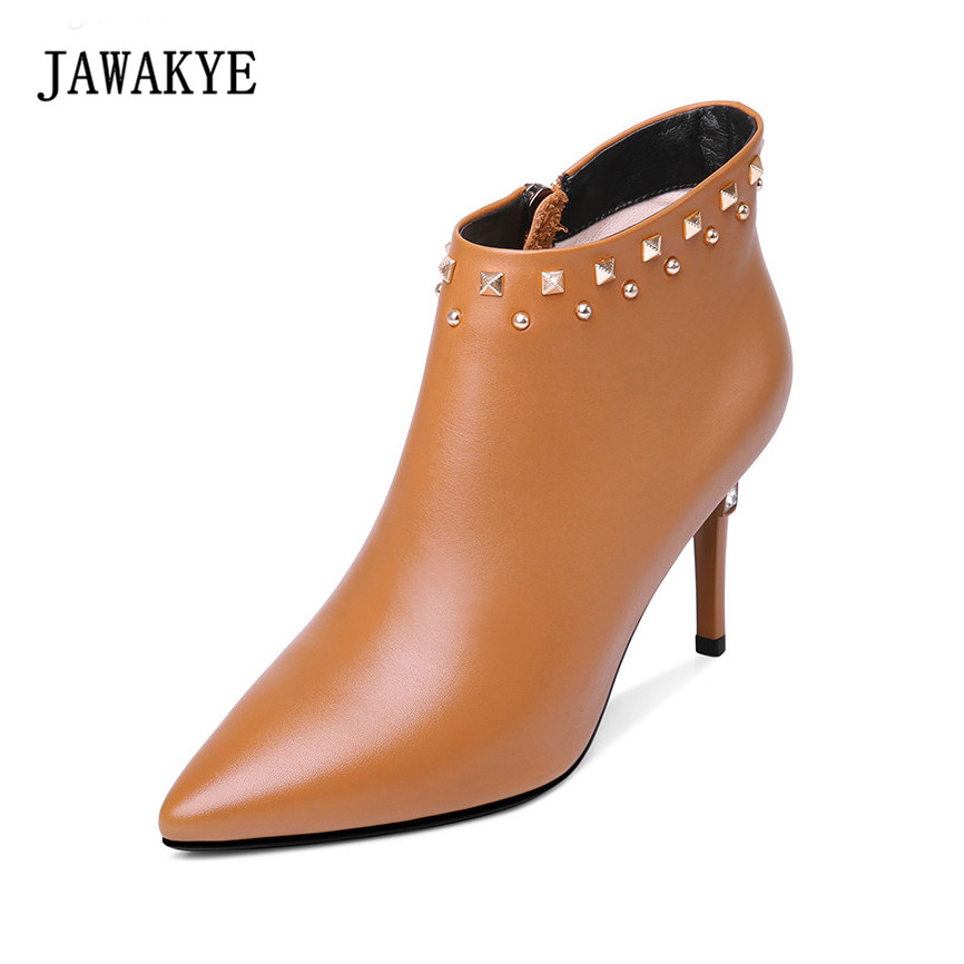 JAWAKYE Ankle Rivets studded Brown Genuine Leather Boots Women Diamond Heel Shoes Pointy Toe Sexy Winter Boots Women jawakye round toe silver chains studded ankle boots women flat heel genuine leather winter shoes motocycle boots for women
