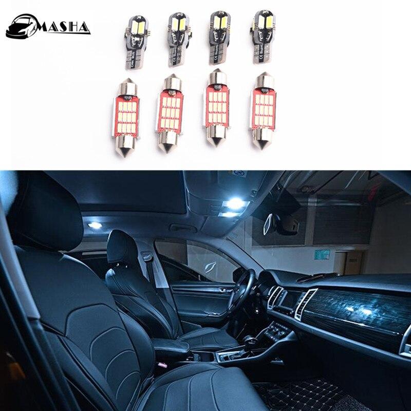 8pcsX Car LED Light Bulbs for Skoda Octavia II 2 RS 2005-2013,Interior Lighting for Skoda Octavia MK2 Dome Door Lights