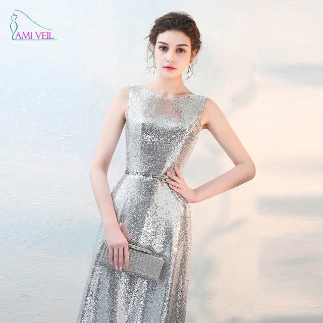 Sequin Silver Evening Dresses Long with Belts Sleeveless Prom Dresses  Vestido Festa Elegant Formal Evening Gowns Robe SoireeGQ92 14d3d2f5cb2a