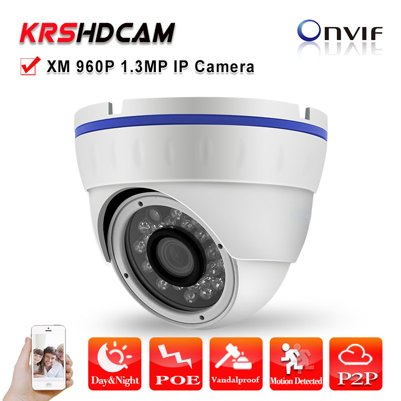 H.264 960P 1.3MP IP Camera POE ONVIF 24IR HD Lens vandalproof indoor room Dome night vision security CCTV camera seguranca ipcc d23 poe full hd 1080p network dome indoor security 3 0 mega ip camera poe android with good night vision h 264 cctv onvif
