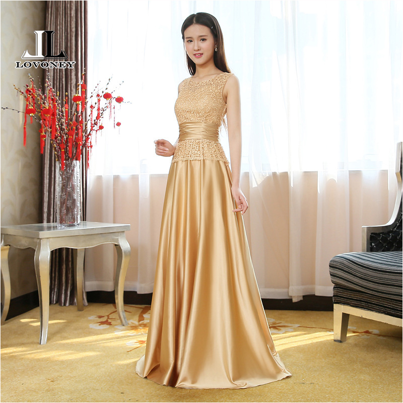 LOVONEY T403 Elegant Long   Prom     Dresses   2019 A-Line O-Neck Gold   Prom     Dress   Evening Gown Formal   Dresses   Robe De Soiree