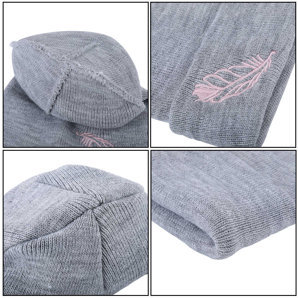 b71035c16b2 ... Kajeer 2019 Brand New Fashion Embroidery Winter Hats Wool Women s  Autumn Vogue Warm Double Layer Knitted