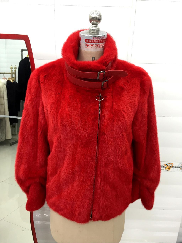 Nouvelle Mode De Court Veste Réel D'hiver Femmes Fourrure Red Vison Peau Manteau Populaire HxXIa