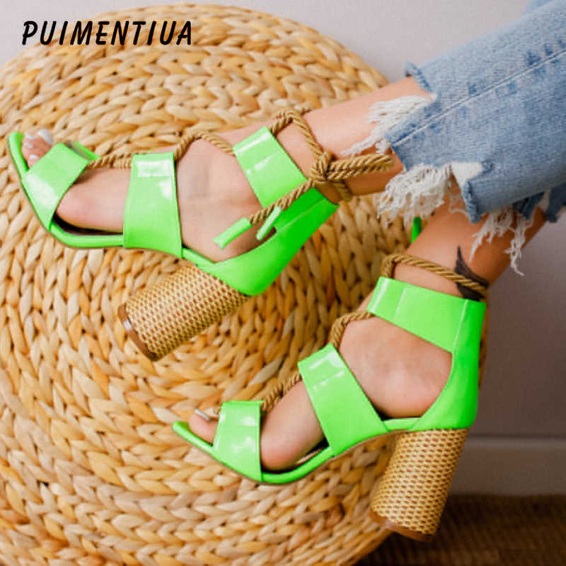 PUIMENTIUA 2019  Women Sandals Heel Pointed Fish Mouth Fashion Sandals Hemp Rope Lace Up Sandals Ankle Strap High Heels