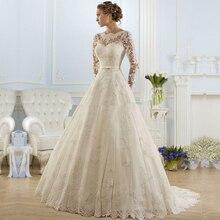 Vestido De Noiva De Renda Princesa Do Laço Do Vintage Lone Luva de Casamento vestido 2016 Barato Uma Linha Branca Do Vestido de Casamento Robe De Mariage(China (Mainland))