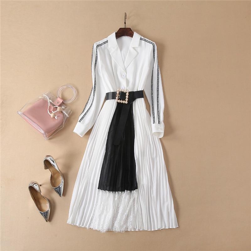 894b0572ced1 Elegante Vestido Bloque Plisado Collar Nuevo Manga Mujer Completa ...