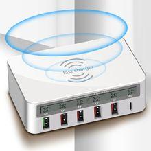 ユニバーサル 100 ワット 5x usb qc 3.0 & タイプ c pd 急速充電器アダプタチーワイヤレス充電ステーション用アプリサムスン xiaomi huawei 社