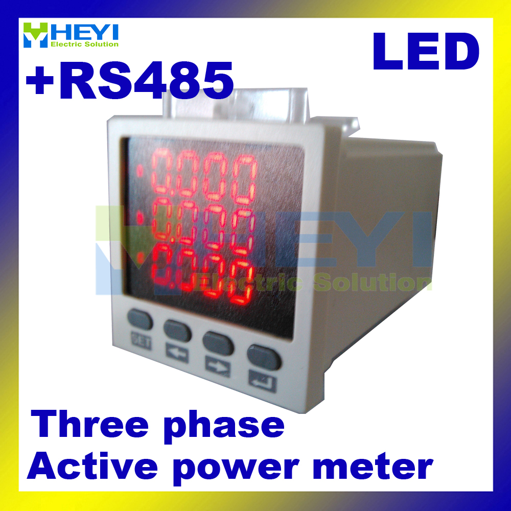 3 phase digital active power meter 48*48 mm LED digital panel meter HY-3P power meters with RS485 single phase digital active power meter led power meter digital panel meter wattless power meter