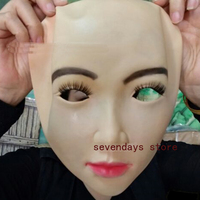 Top Grade Handmade Silicone Sexy And Sweet Half Female Face Mask Ching Crossdress Mask Crossdresser Doll