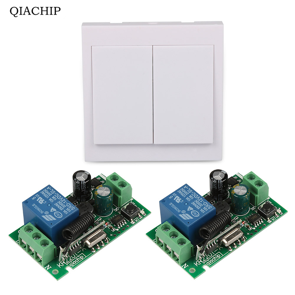 Mini Size 220V 1CH 10A Wireless Remote Control Switch Receiver +2 X 1CH 86 Wall Panel Remote Transmitter 433 MHZ mini stable 10a 220v 1ch rf remote control switch system for led bulb light strips receiver 86 wall panel transmitter