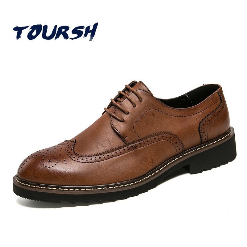 TOURSH 2018 Luxury Brand Brogue Shoes Men British Style Carved Genuine Leather Shoe Brown Oxford Shoes Lace-Up Zapatos Hombre