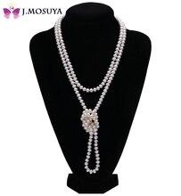 J. MOSUYA 100% Collares de Perlas Naturales Para Las Mujeres Madre Regalo de la Joyería de Perlas de Agua Dulce Blanco, 120 cm de Largo Collar Del Suéter