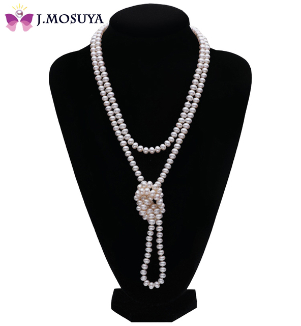 J.MOSUYA 100% Natural Pearl Necklaces For Women Mother Gift White Freshwater Pearl Jewelry, 120 cm Long Sweater Necklace