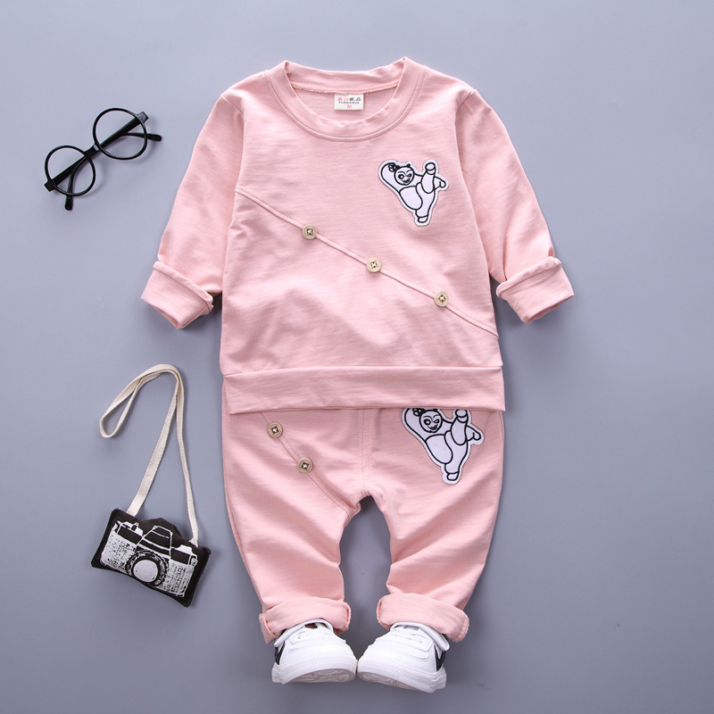 spring autumn baby boys/girls clothes newborn Casual cotton clothing cartoon bear shirt+pants 2pcs Outfit Children Clothing set
