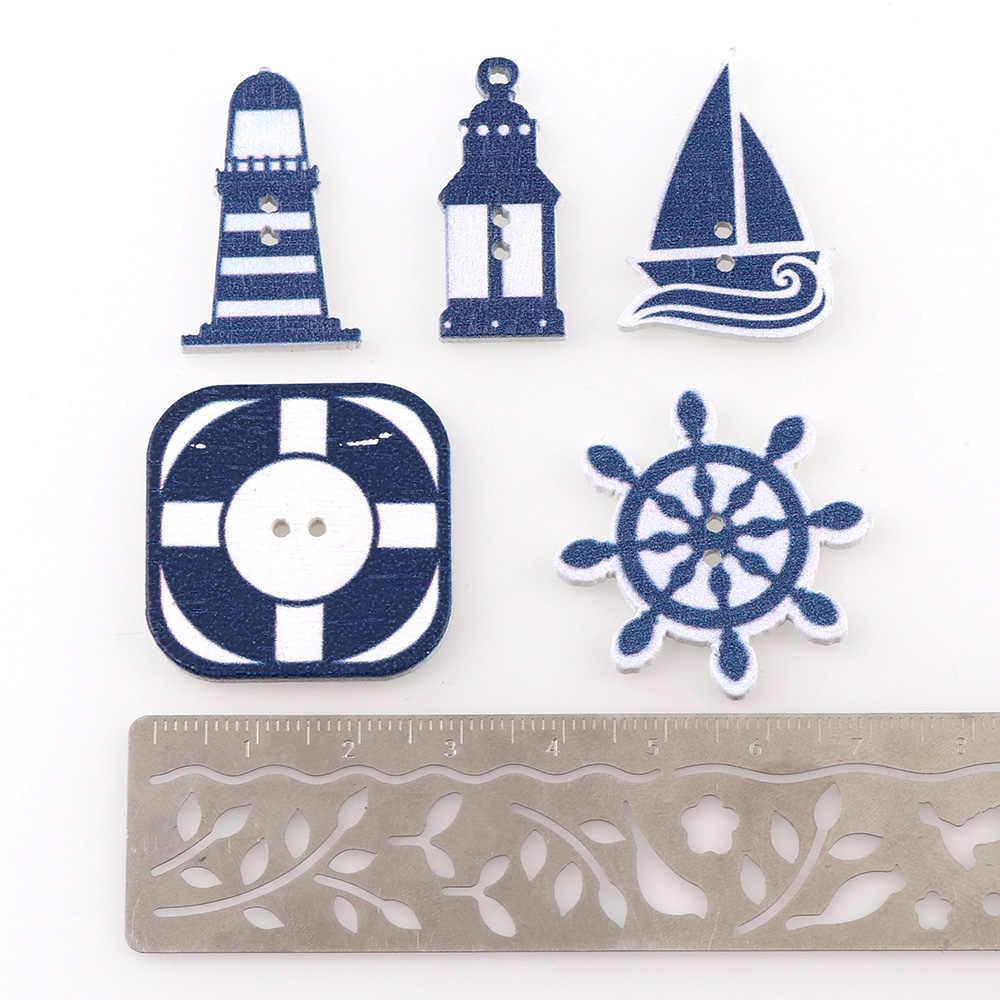 """Scrapbooking ButtonsWooden, proszę kliknąć na przycisk """" morze kierownice wzór księga gości 50 sztuk 2 otwory mieszane drewno dekoracyjne guziki"""