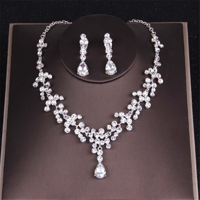 Bridal Jewelry Sets for Women Wedding Necklace Earrings sets rhinestone crystal Necklaces Earrings Set jewelry female