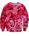Розовые Розы Crewneck Толстовка День Святого Валентина подарок яркие 3d Тянуть Перемычка Женщины Мужчины Топы Толстовки Толстовки Плюс Размер
