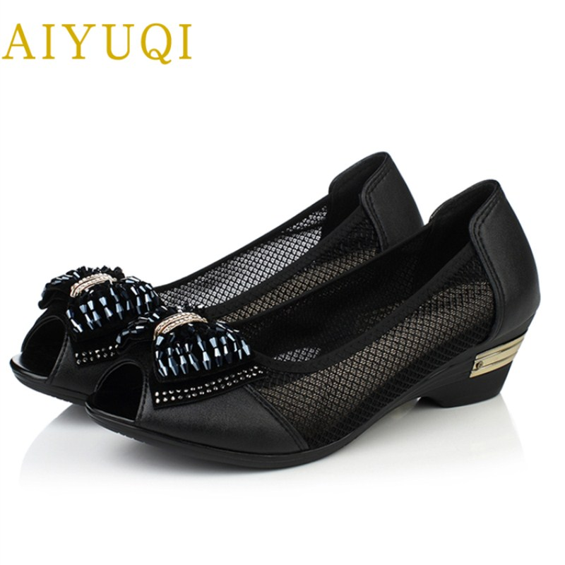 AIYUQI 2018 summer new female leather sandals bud silk yarn big size 42#43#44# middle-aged mother shoes fish mouth shoes female aiyuqi 2018 spring new genuine leather women shoes shallow mouth casual shoes plus size 41 42 43 mother shoes female