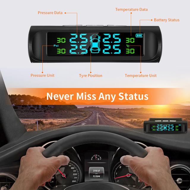 Solar Powered Car Tire Pressure Monitor