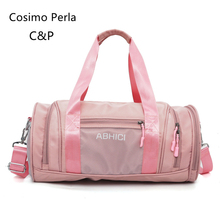 Pink Nylon Waterproof Sport Gym Bags Yoga Portable Duffel Handbags Dry Wet Separation Swim Women Travel Bag Carry on Luggages
