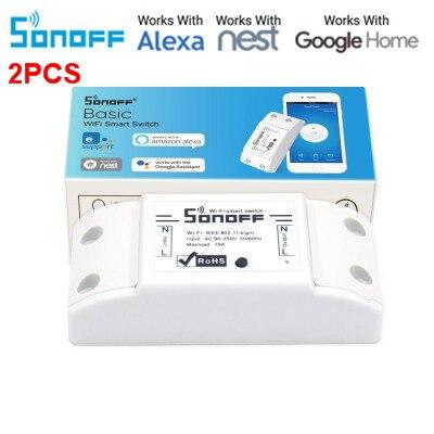 2Pcs Sonoff Wireless Wifi Switch Smart Home