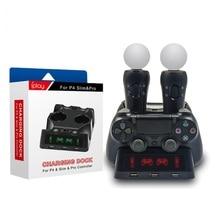 PS4 Move Motion VR PSVR LED Joystick ładowarka stojak stacja ładująca do kontrolera dla PS VR poruszać się PS 4 Dualshock 4/szczupła /Pro Gamepad