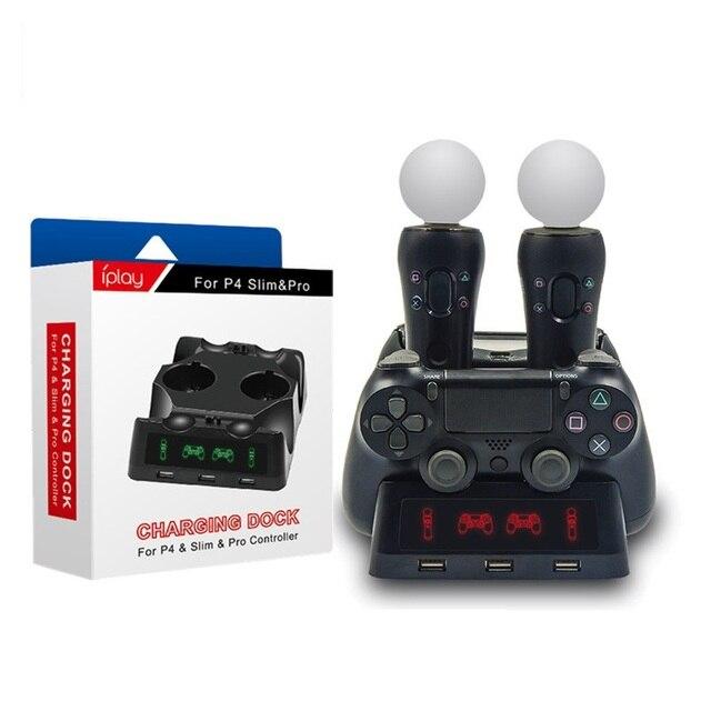PS4 移動モーション VR PSVR LED 充電スタンドコントローラ充電ドック ps VR 移動 PS 4 デュアルショック 4 /スリム/プロゲームパッド