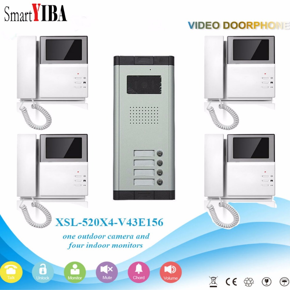 SmartYIBA 4.3Home Night Vision Doorbell With Handset Intercom System IR Camera For 4 Units Aparment Families Video Door Phone