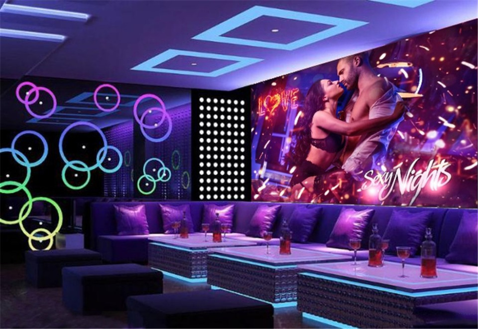 Decorative Bar KTV 3d Wallpaper Sexy Night Romantic Couple 3d Character Wallpaper Exquisite Waterproof