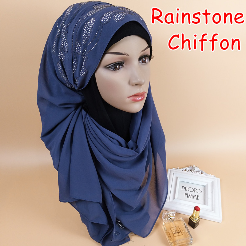 T 1 High quality bead rainstone bubble chiffon hijab shawls women   scarf     scarves     wrap   headband 180*75CM 10pcs/lot