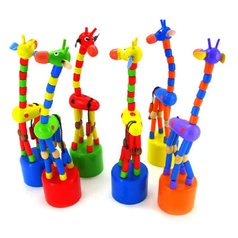 2019 New Arrival Baby Kids Wooden Toys Developmental Dancing Standing Rocking Giraffe Handcrafted Toy children Gifts in Gags Practical Jokes from Toys Hobbies
