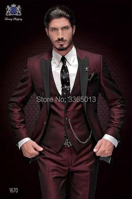 Última capa pantalón diseños 2018 marca Trajes hombres púrpura 3 unidades  formal mariage traje hombre slim 229ea799f18e