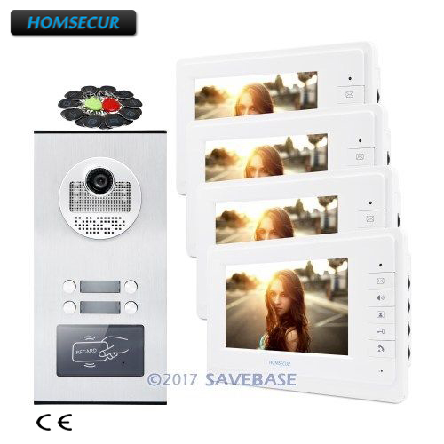 HOMSECUR 7 Wired Video Door Intercom System with IR Camera for 4 Families