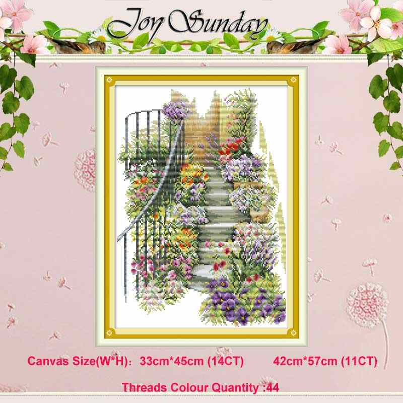 Flower stairs counted 11CT 14CT scenery Cross Stitch Set DIY DMC Chinese Cross-stitch Kit Embroidery Needlework Home Decor