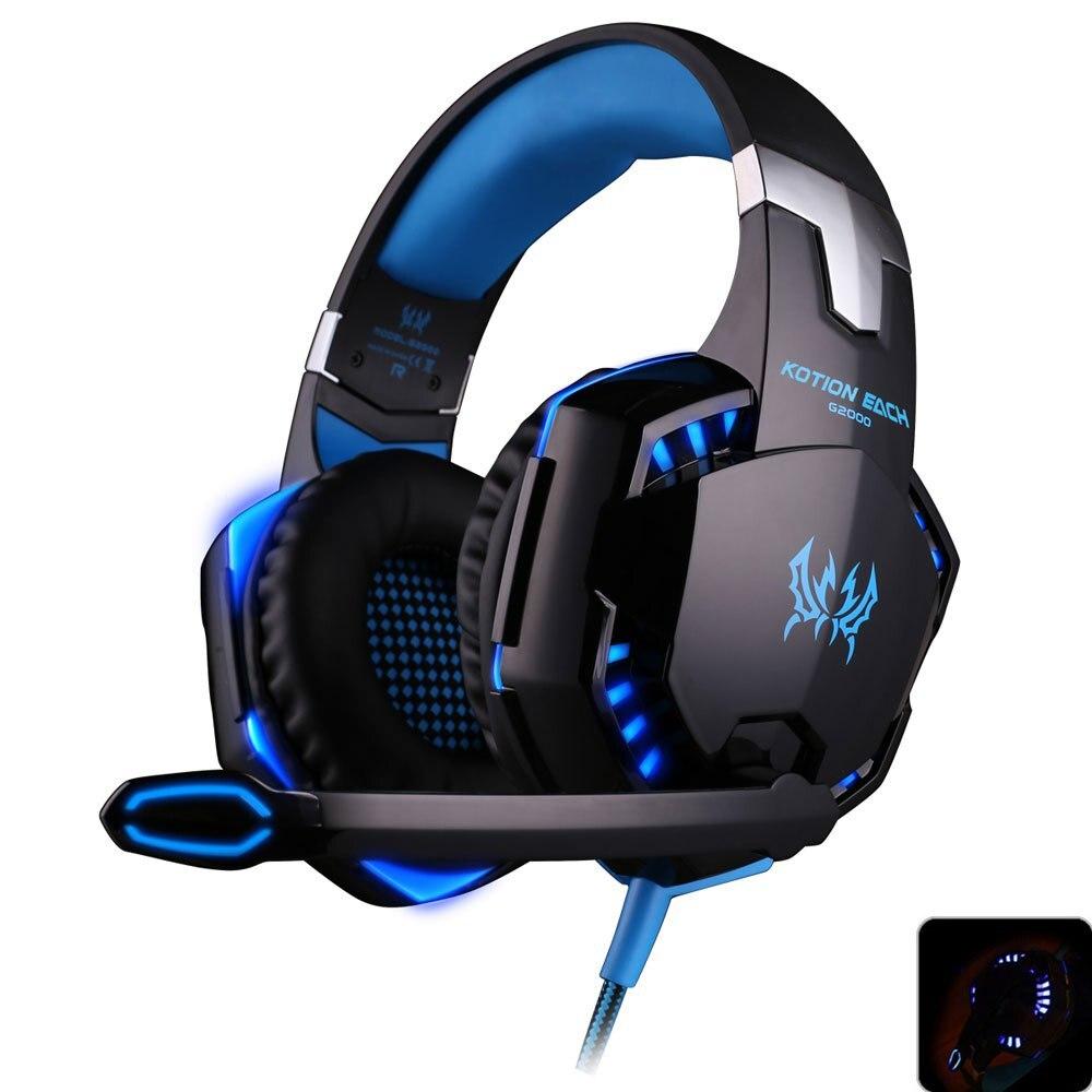 Each g2000 gaming headset головной телефон стерео игра наушники компьютерные гарнитуры с микрофоном светодиодные для компьютера pc gamer