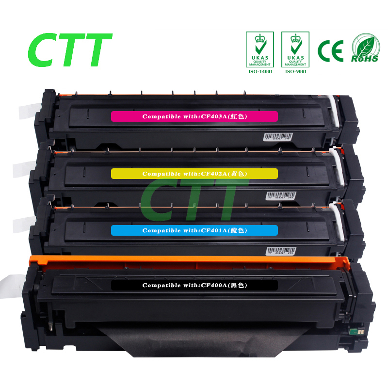 4 color CF400A CF401A CF402A CF403A toner cartridge compatible for HP Color Laserjet M252 M252dw M277n M252N M277dw printer