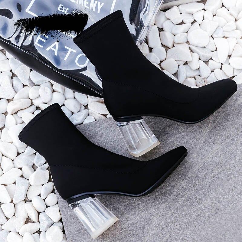 Lujo Botas Marca Mujeres Retro De Bloque Negro Boot Tobillo Grueso Altos Señora 2018 Mycolen Invierno Otoño Zapatos Cortas Tacones Chelsea an7FOzwq