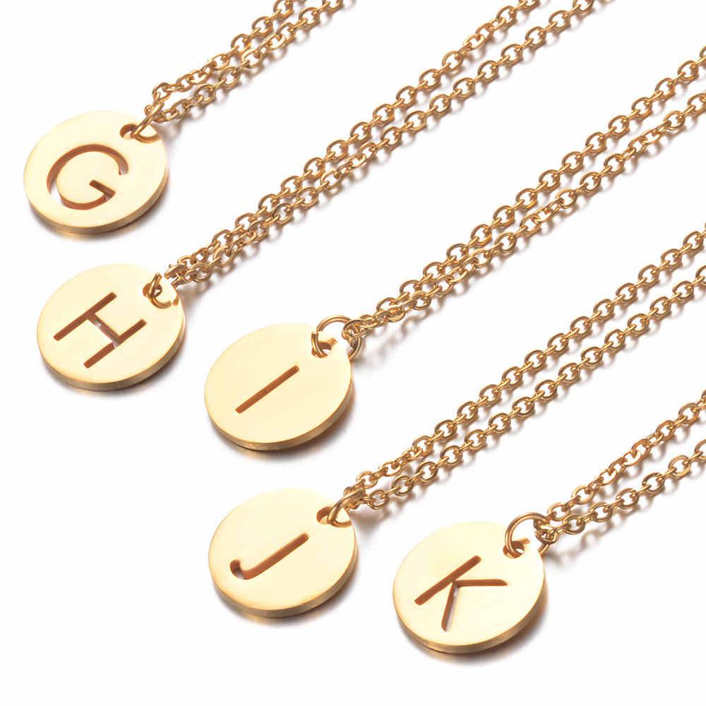 ส่วนบุคคลสร้อยคอชื่อเริ่มต้นสแตนเลสแท้ 100% เครื่องประดับ Gold & Silver อุปกรณ์เสริมแฟนของขวัญ