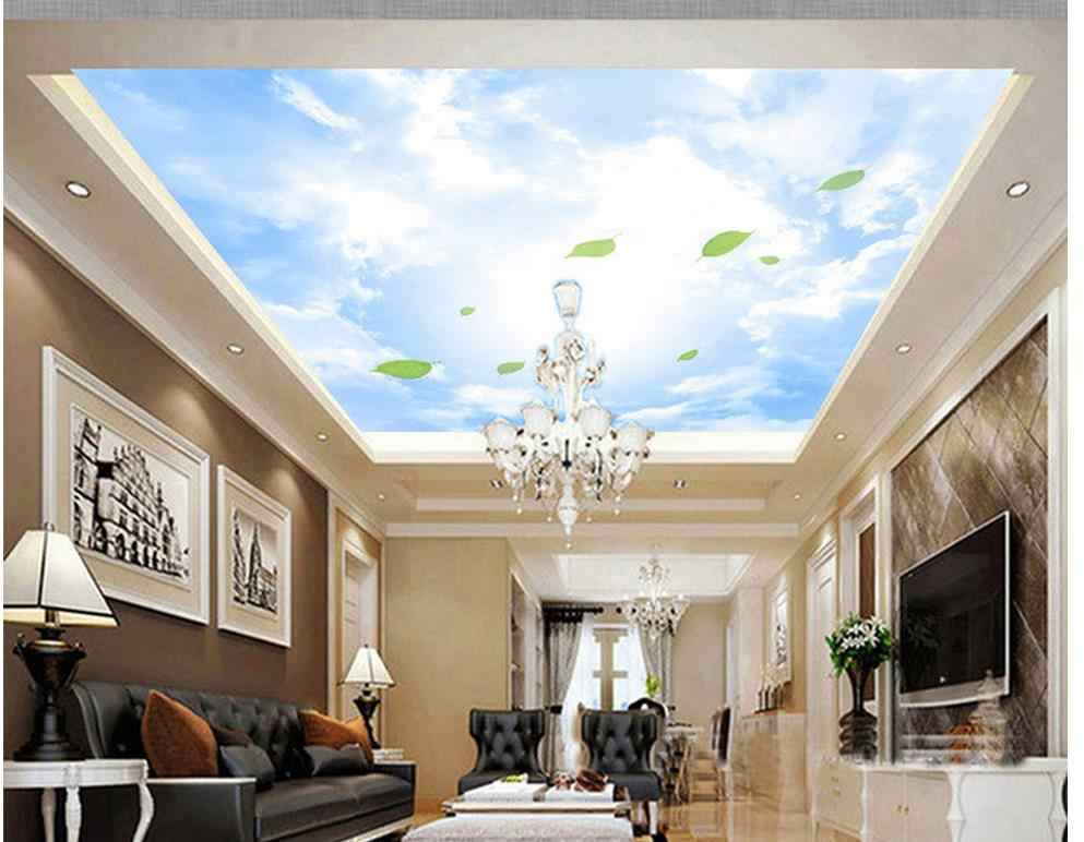 Leaves Blue Sky White Clouds Roof Ceiling Wallpaper Painting Home Decoration Sky Ceiling Wallpaper Sky Ceiling Wallpaper Ceiling Wallpapersky Ceiling Aliexpress