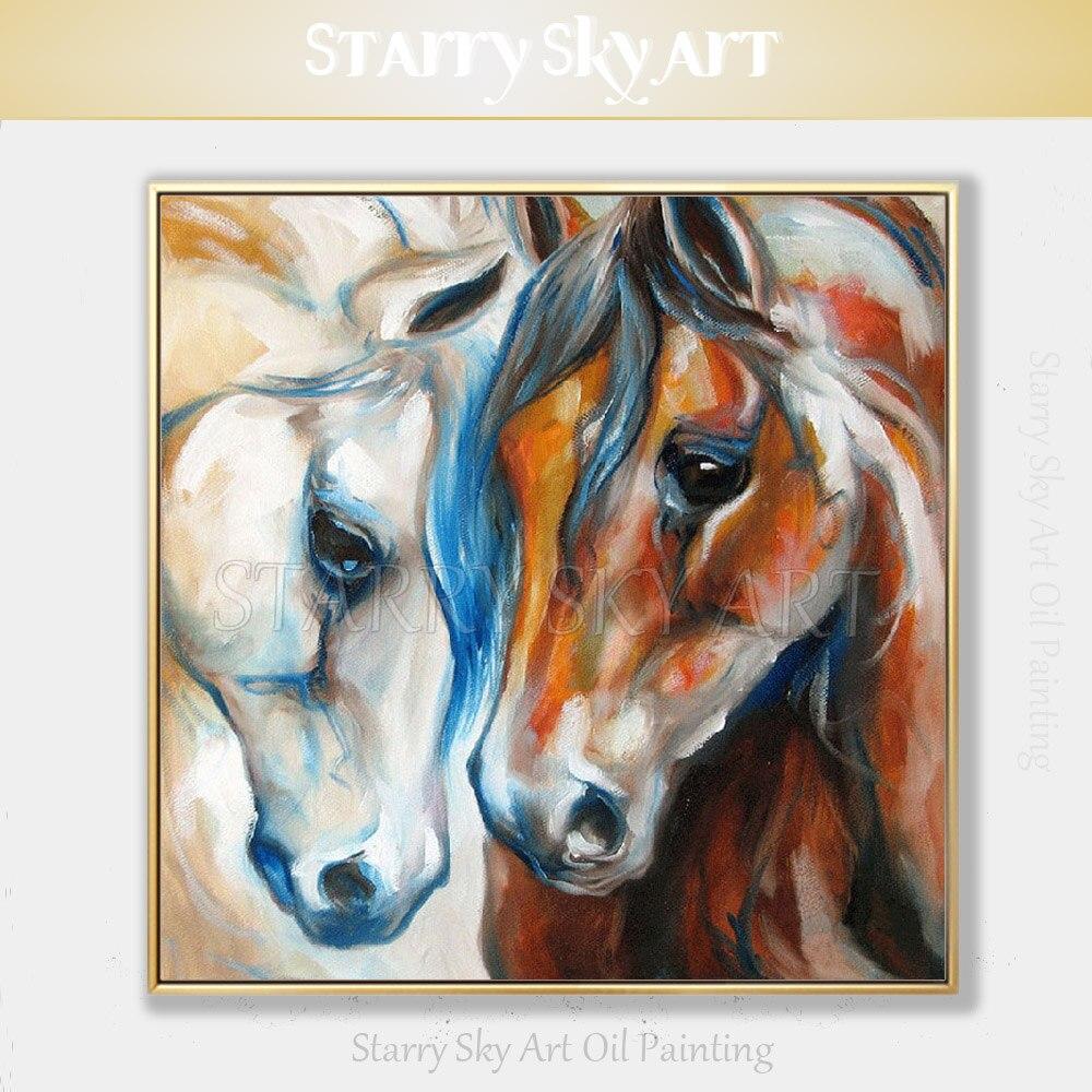 Vente chaude Fine Art artiste peint à la main de haute qualité moderne Animal cheval peinture à l'huile sur toile belle peinture de cheval indien
