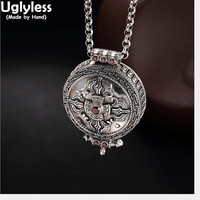 Uglyless Real 925 Sterling Thai Silver Openable Gaudencio Box Pendants without Chains Unisex Carved Cross Vajra Buddhism Jewelry