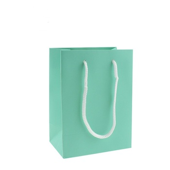 10 Pcs High Quality Kraft Paper Bag With Handles Elegant Turquoise Packaging Bags For Wedding Birthday Party Jewelry