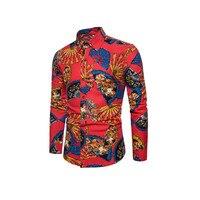 Men Beach Shirt Long Sleeve Slim Casual Fit Dress Luxurious Retro Floral Section Work Business Women 5XL Shirt Chemise Homme