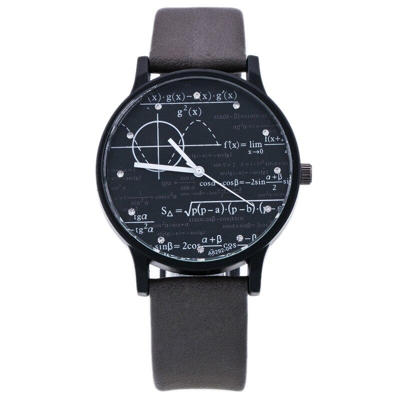 Fashion Design Unisex Watch Men Women Leather Strap Function Equation Pattern Casual Quartz Wristwatch Students Elegant