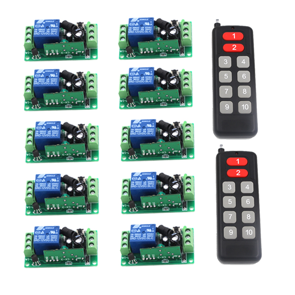 цены Brand New DC 12V 10CH 10 Channel Wireless RF Remote Control Switch 2 Transmitter+10 Receiver SKU: 5447