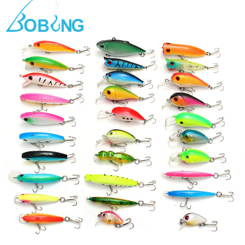 Bobing 30Pcs/lot Lure Fishing Baits Set Minnow Popper Hard Bait Crankbait With Treble Hooks Saltwater Artificial Baits Wobblers 10pcs 7 5cm soft lure silicone tiddler bait fluke fish fishing saltwater minnow spoon jigs fishing hooks