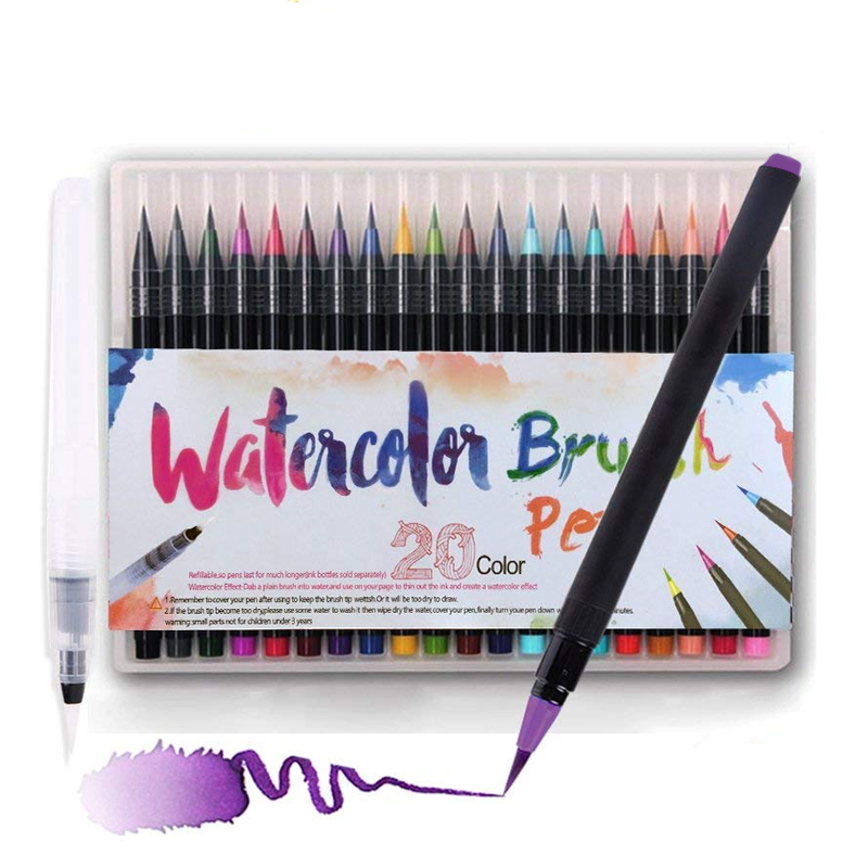 20 Colors Watercolor Brush Pen Set Premium Soft Tip Color Writing Drawing Painting Blend-able Waterbrush Markers Art Supplies20 Colors Watercolor Brush Pen Set Premium Soft Tip Color Writing Drawing Painting Blend-able Waterbrush Markers Art Supplies