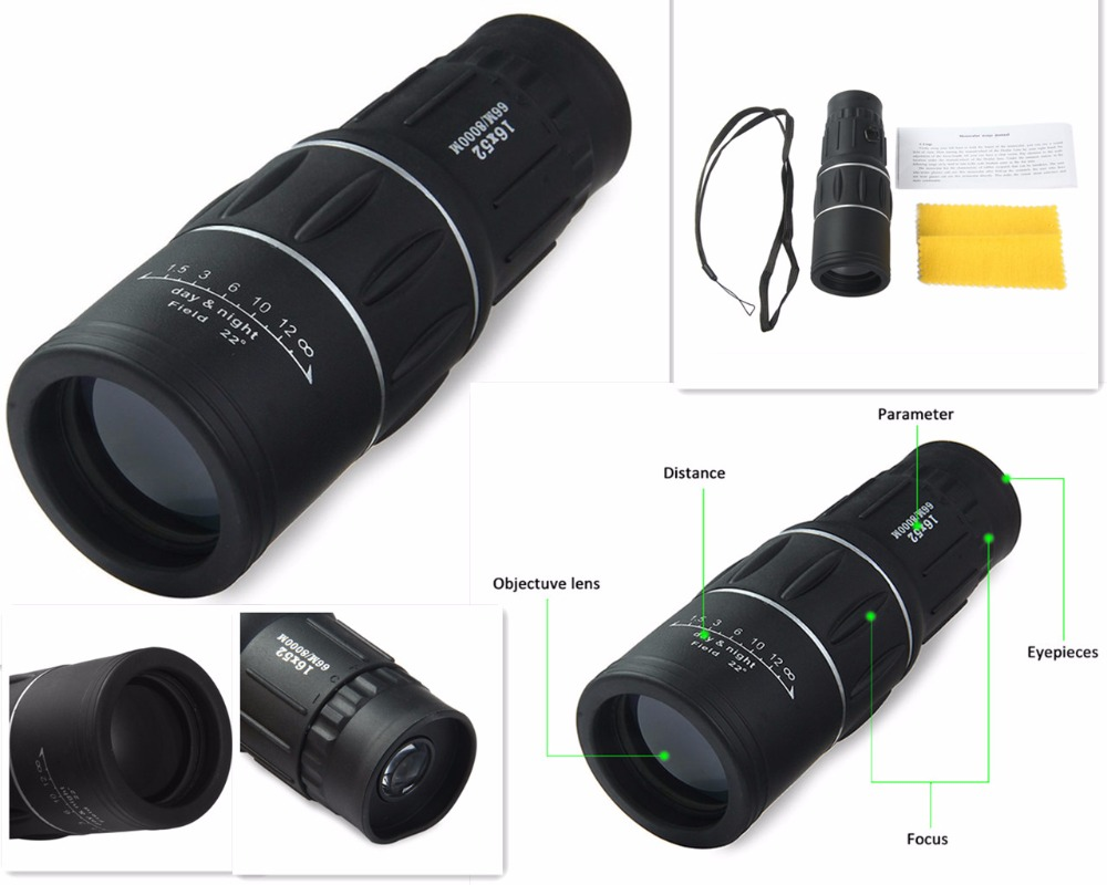 16x52 monocular jagd dual optik für fokus zoom optic objektiv tag