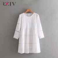 RZIV spring women dress casual loose dress hollow solid color embroidery