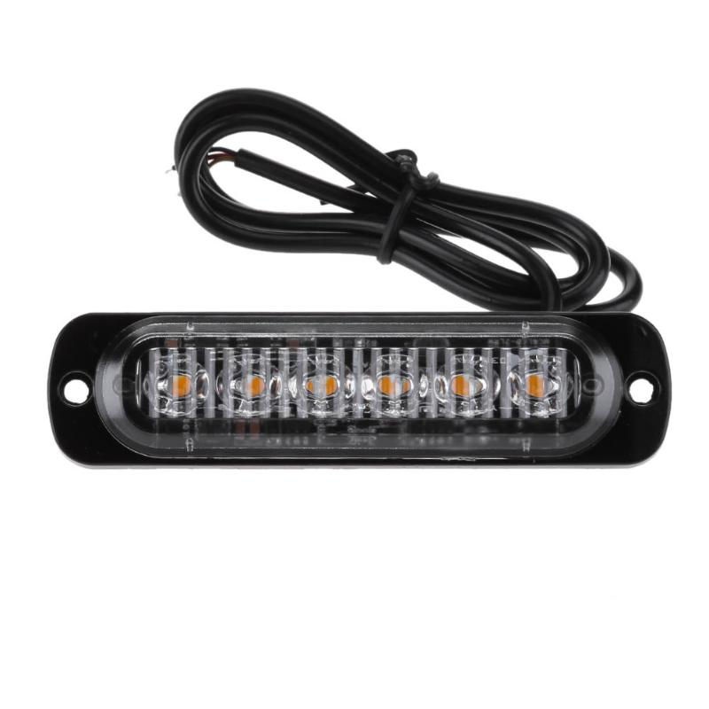 Universal 12-24V 6 LED 18W Slim Amber Flash Light Bar Car Vehicle Emergency Warning Strobe Lamp Motor Turn Running Lights 4 led 12 24v car strobe flash light white red amber light vehicle truck rear side light car emergency warning lamp drop shipping